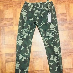 Pants - Distressed Camo Pant Jogger Style.